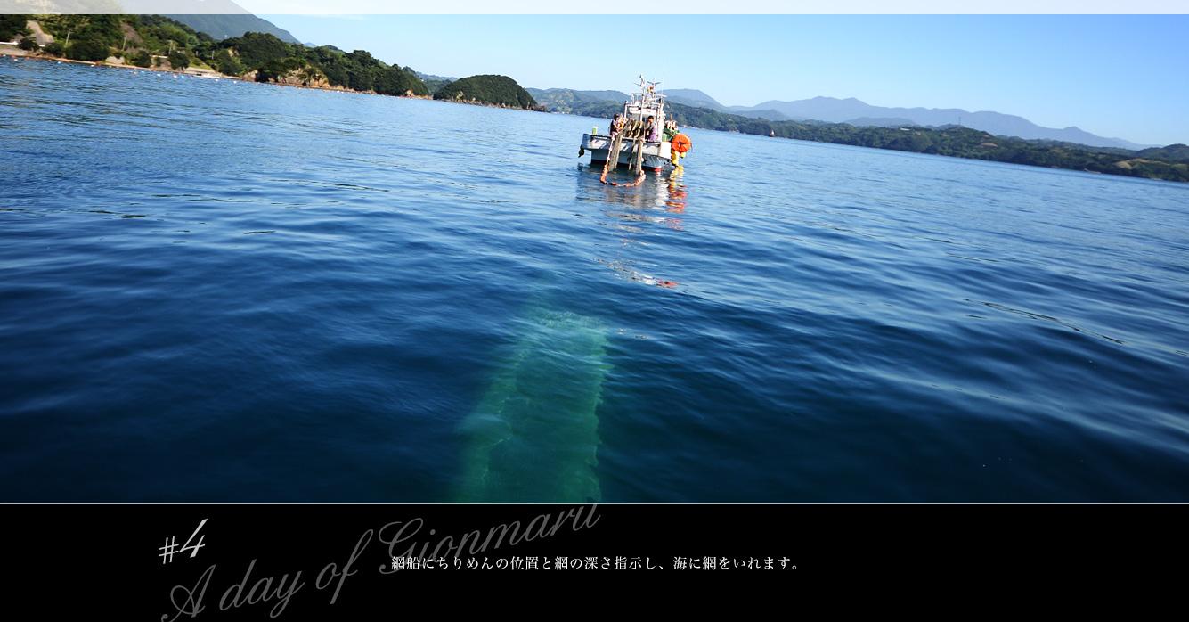 魚群探知機を使って電探船で魚の群れを探して走ります。